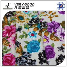 Factory Rayon print with metallic&embroider fabric for making dresses