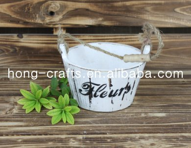 Shabby chic hand carved wood basket