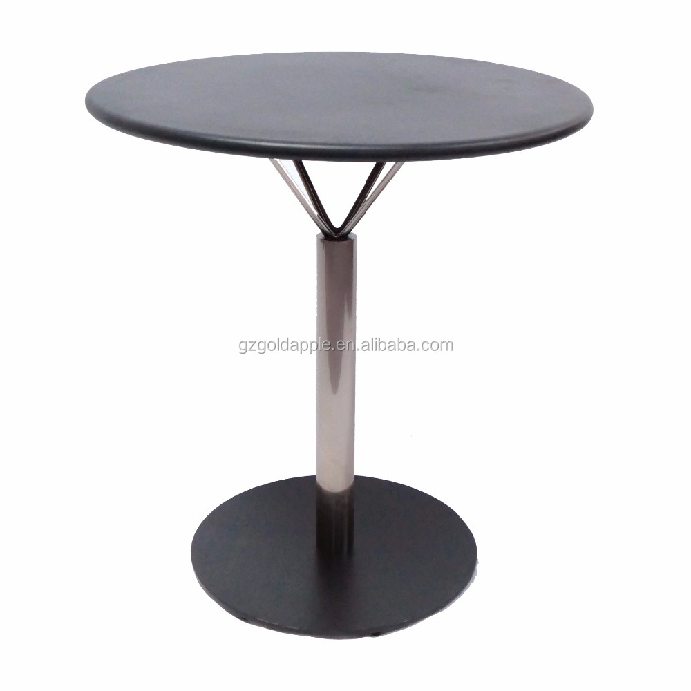 Patio outdoor coffee tea table, round metal dining table