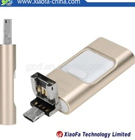 Gold metal 3 in 1 Pen drive real capacity 8gb 16gb 32gb 64gb USB Flash Drive OTG For Smartphone