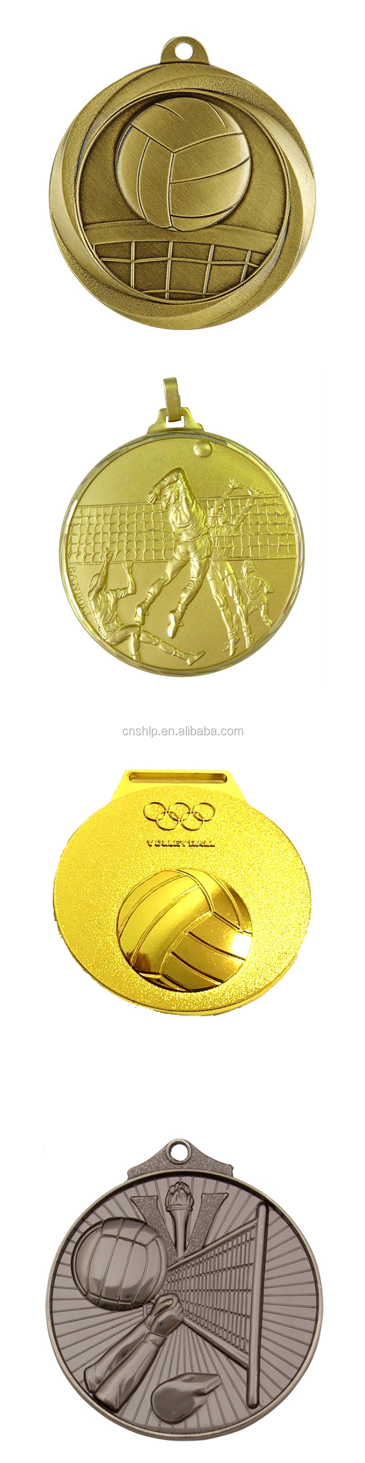 Antique gold 3D embossed sports custom volleyball metal medals