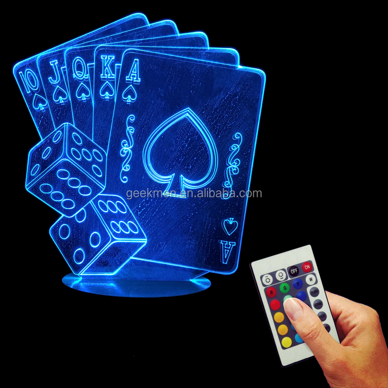 3D Wood Mood Base Night Light LED Multi-Colored Poker And Dice light With USB Remote Controller Kid Room Decor
