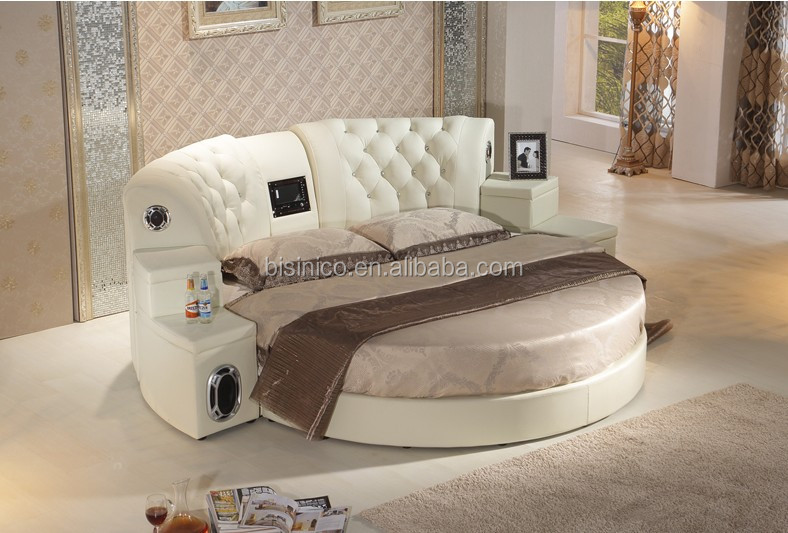 Bisini Massage Genuine Leather Dvd Round Bed With Speaker