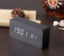 Digital LED Alarm Clock Sound Control Wooden Despertador Desktop Clock USB/AAA Powered Temperature Display Hour