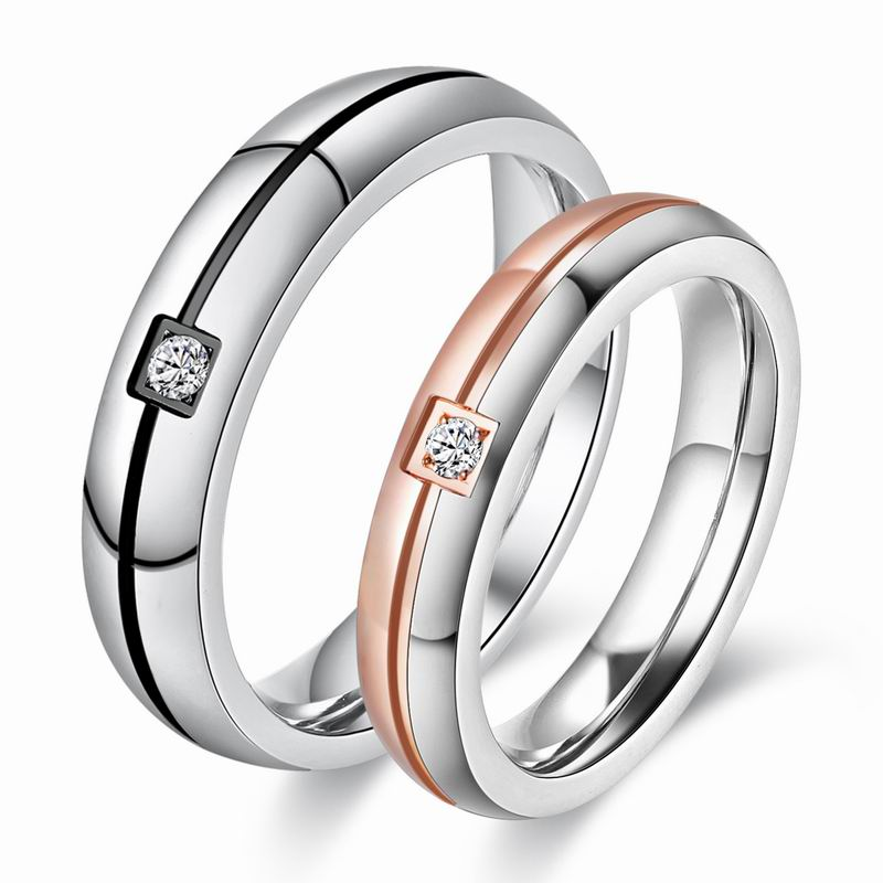 Hot Sale Romantic Lovers Couple <strong>Rings</strong> Inlaid Cubic Zirconia Stainless Steel <strong>Rings</strong> Women Men Engagement <strong>Ring</strong> Wholesales 1pc