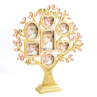 Gold plating metal family tree photo frame pink jewelry decoration tree photo frame