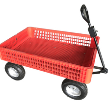 Mesh plastic tool cart with wheels for garden use