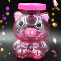 PS Animal Pink Pig Shape Plastic Candy Storage Container with Twist Open Lid