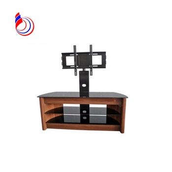 Mahogany TV stand with vintage design and tempered glass RN1110