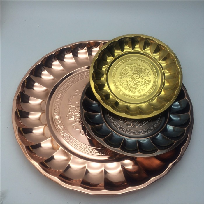 Wholesale OEM color planted stainless steel Thai-style round flower round tray