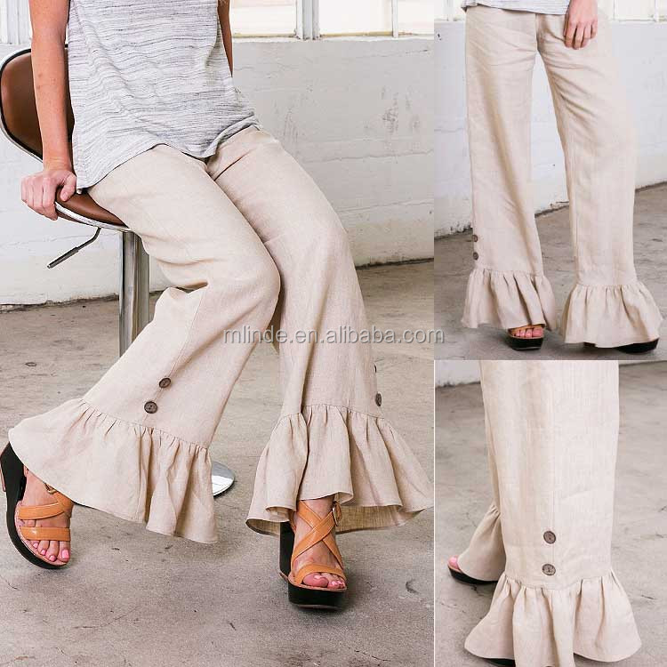 Latest Design New Fashion Jeans Pants Women High Quality Latex Linen Pants with Ruffle Bottoms