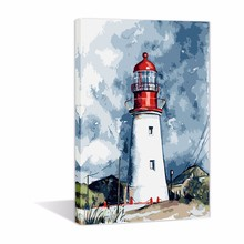 Diy Oil Painting Canvas Printing Paint by Number Kit For Adults Wall Art Lighthouse