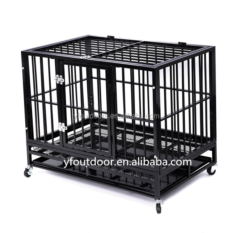 Folding square tube heavy duty dog crate