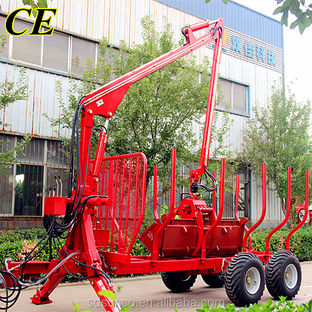 Hot sale!CE Approved Atv Log Trailer with crane for timber(1ton 3ton 5ton 8ton 10ton 12ton)