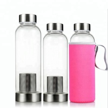 Wholesale Glass Tea Infuser Water Bottle with stainless steel cap and sleeve