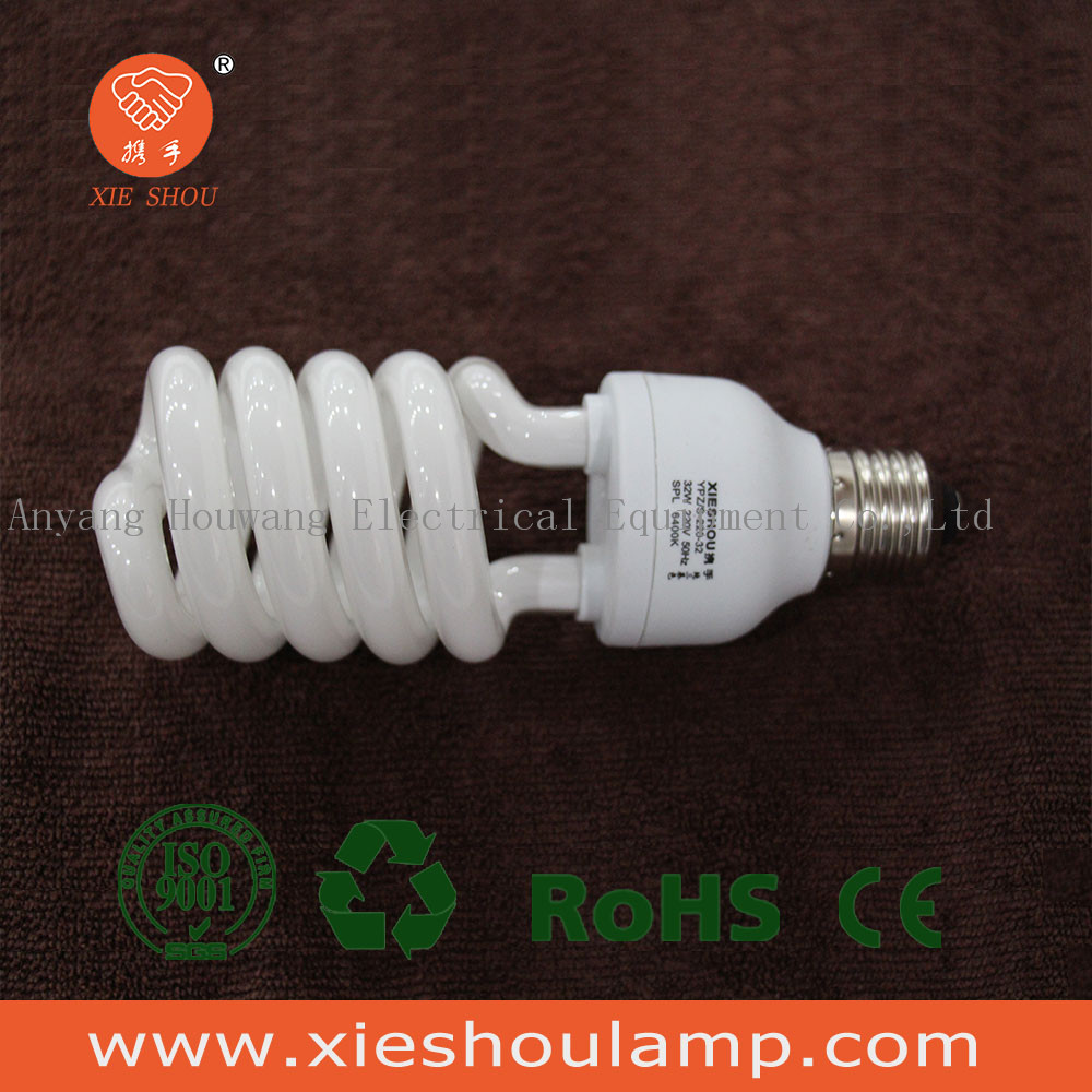 2016 newest high quality tri-color half spiral 32W cfl energy saving lamp/bulb