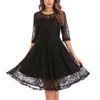 Latest Design Black Lace Round Collar Half Sleeve Women Party Cocktail Dress