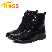 Shining PU Leather Shoes for Children Doc Martens Footwear Classic Black High Top Flat Shoes Kids Boots