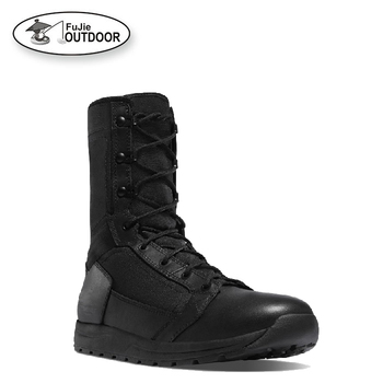 Outdoor Combat Boots Mens Black Leather Waterproof Military Boots