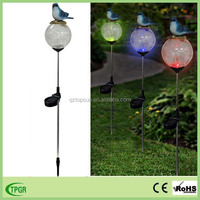 Resin bird with color changing crackle glass ball solar light garden ornaments