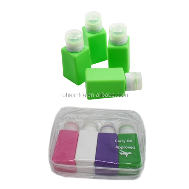 Set of 4 Portable Soft Cosmetic Container Silicone Travel Cosmetic Bottle Set
