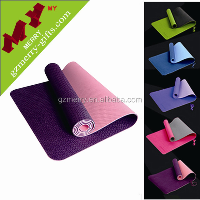 Guangzhou factory wholesale eco friendly blank double layer tpe yoga mat manufacturer