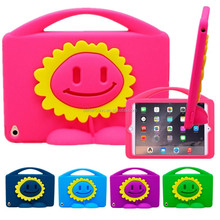 3D Smile Sunflower Shockproof EVA Foam Stand Handle Case Cover For iPad Mini 4 For Kid