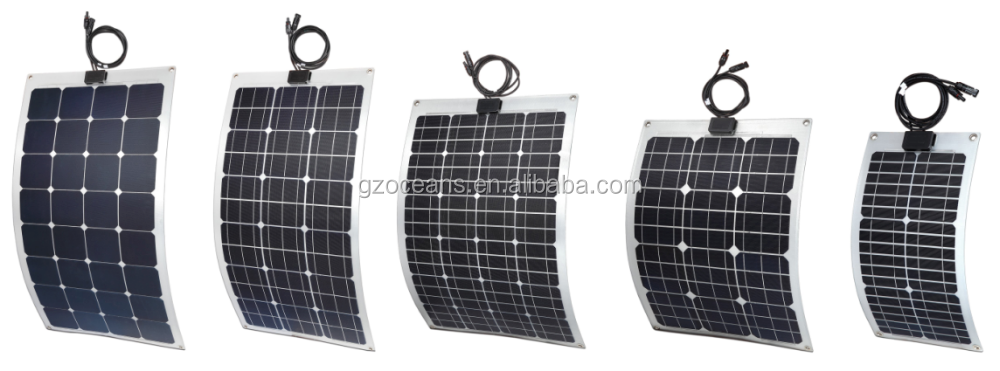 20W High Effeciency Monocrystalline Silicon Cell Semi Flexible Solar Panel for 12v Battery