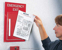 "red with white 12""w x 16""h Evacuation Signs Plan Holder disaster preparedness"