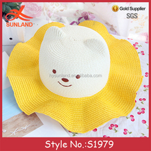 S1979 new custom party hats kids straw embroidered bear head hats baby sun hats with wave brim for sale