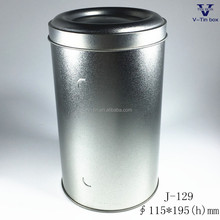 Silver round metal tin for tea packaing