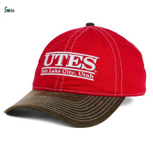 High-end 2 tone custom washed cotton wide brim 3d puff embroidery suede bill baseball cap hat
