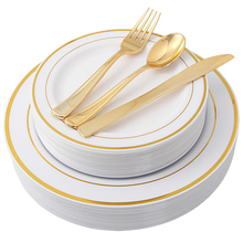 25 guest gold plastic <strong>plates</strong> with gold silverware