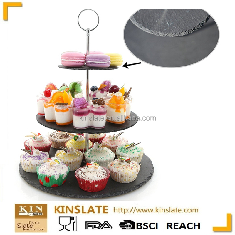 Kinslate 3 tier round slate cake stand for wedding party