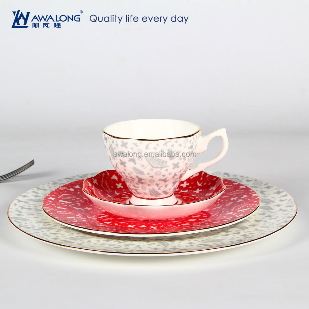 4pcs Gray And Red Combination Fine Bone China 11 inch Ceramic Dinner Plate, Photo Printing Ceramic Plate And Cup Set