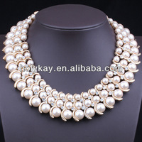Hot new products for 2014, latest design triple strands imitation round white pearl necklace hot sell in russian alibaba