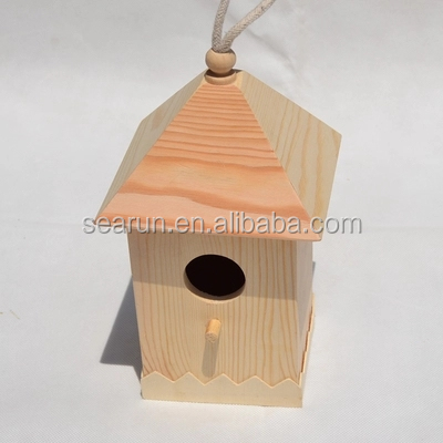 Wholesale Unfinished Wooden Bird House, Small Wood Crafts Bird House