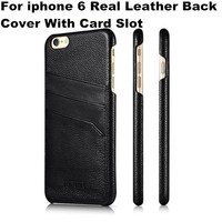Luxury Original iCarer Case Real Cow Skin Genuine Leather Ultra Slim Phone Back Cover With Card Holder For iPhone 6 4.7 inch