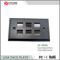 LY-FP20 RJ45 cat5e cat6 America cable face plate Network wall outlet 6 ports wall plate