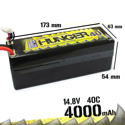 4000MAH 4S 40C MAX 80C 14.8V RC Car NANO TECH LIPO PACK BATTERY HUNGER