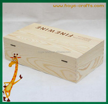 vintage business gift pine wood wine box with your own logo hot sale