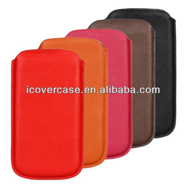 Mobile Phone Bag PU Leather Bag Pull Tab Pouch Case Cover For Samsung Galaxy S4 i9500 S3 i9300
