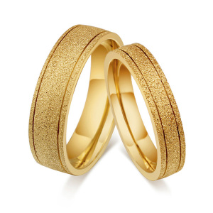 Latest unique gold dull polish design finger ring couple lovers stainless steel rings pair wedding band for man and women
