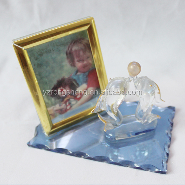 beautiful crystal photo frame with Crystal dolphin design base