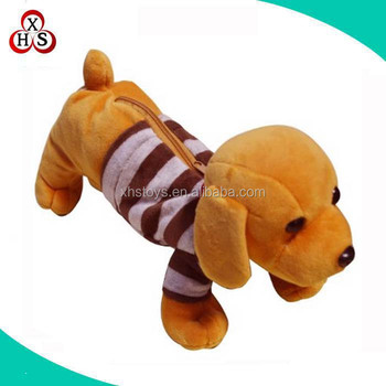 Wholesale custom cute plush dog pencil case animal shaped plush pencil case