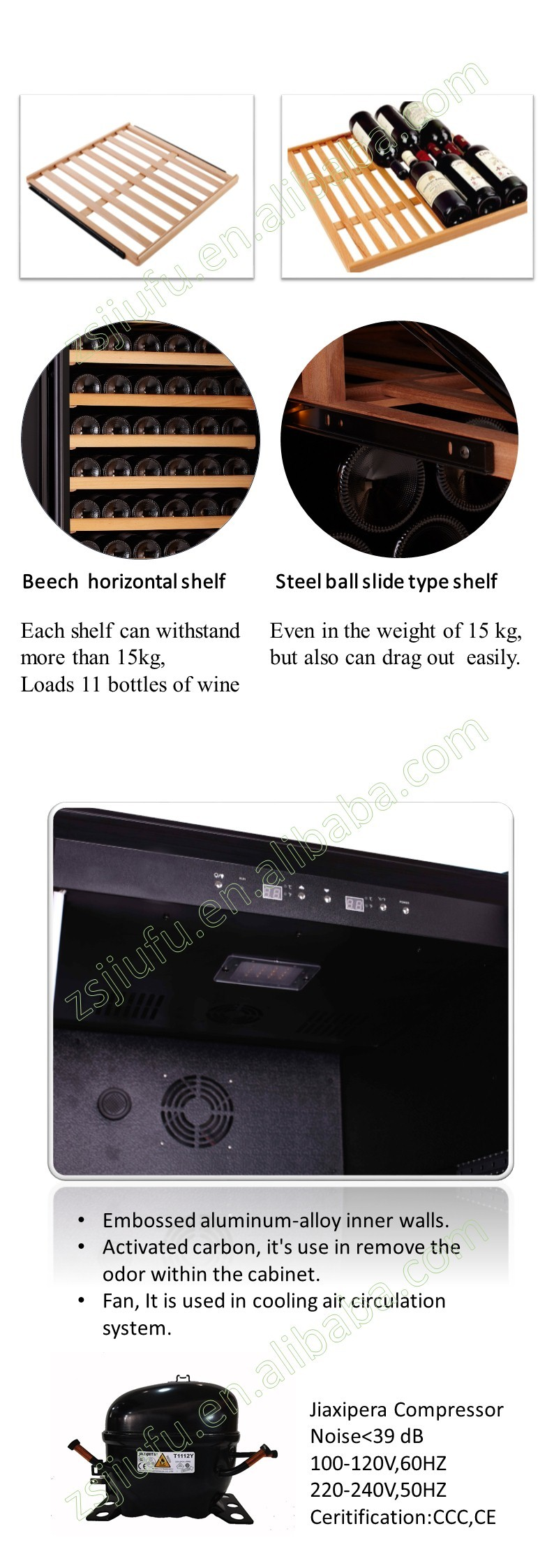 450L single zone household Aluminium alloy door frame highest rated wine coolers