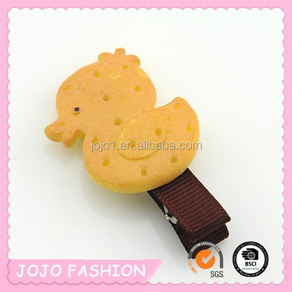 Vivid cute kids hair clip cartoon children biscuit barrette