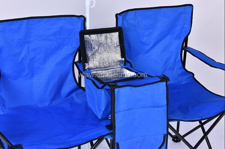 Two seats folding camping double chair with middle table for Table with cooler in middle