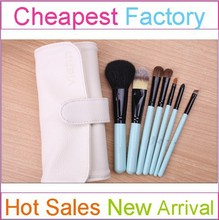 7 Pieces Blue Travel Size Makeup Brush Set High Quality Goat/Pony/Synthetic Hair With a White Makeup Bag