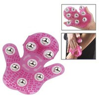 Hot selling wholesales FunAdd Hand-hold Roller Rolling Joint Massage Glove(Magenta)